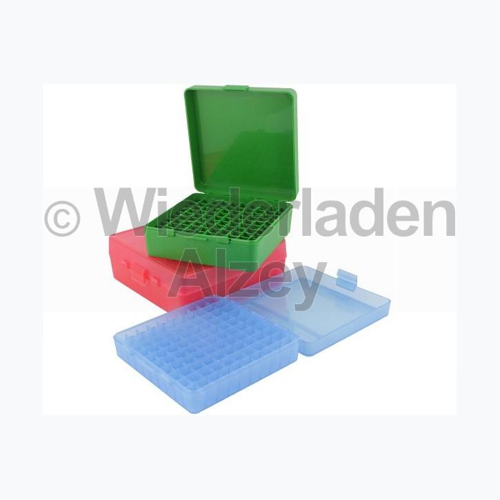 100er MTM Patronenbox, Klappdeckel, rot, 9 mm Para, MTM Art.-Nr.: P-100-9-29
