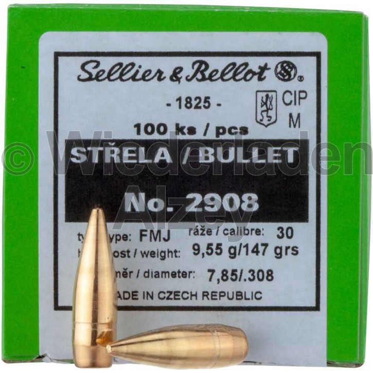 .308, 147 grain, S & B Geschosse, Vollmantel-BT, Art.-Nr.: 2908