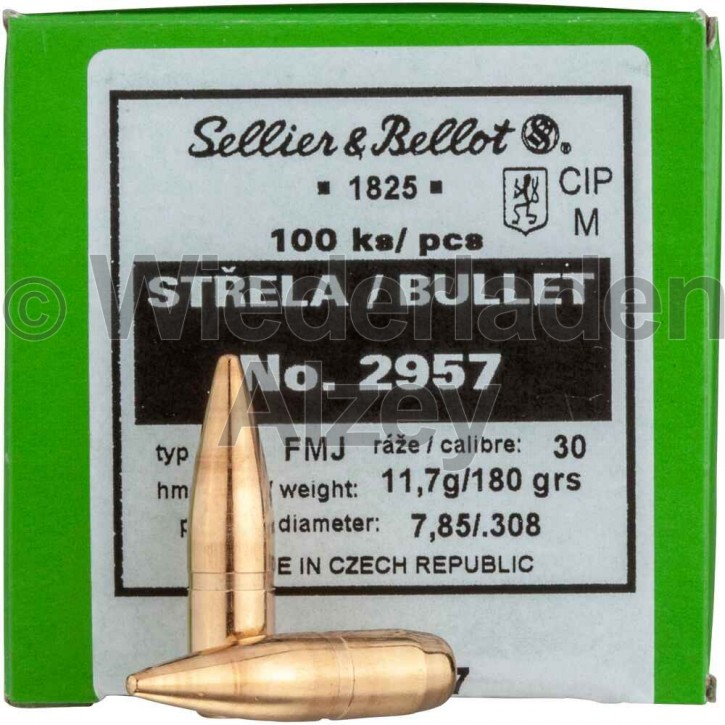 .308, 180 grain, S & B Geschosse, Vollmantel-BT, Art.-Nr.: 2957