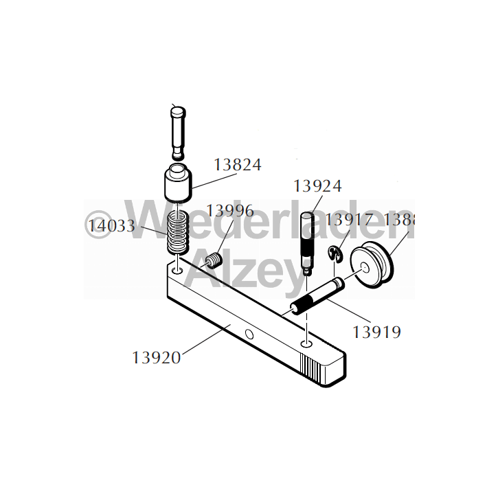 "Dillon RL 550, Zündhütchenführung kpl., klein, ""Primer Slide Assembly, small"" Art.-Nr.: 14282"