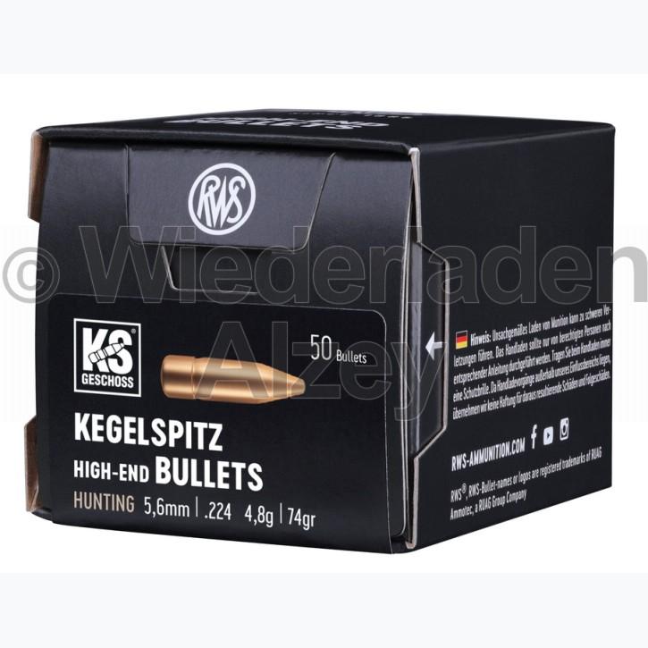 RWS Geschosse, .224, 74 grain, 4,8 g, Kegelspitz