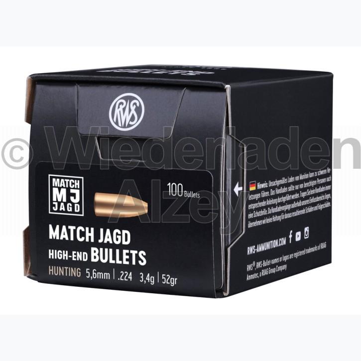 RWS Geschosse, .224, 52 grain, 3,4 g, Match-Jagd / Scheibengeschoss