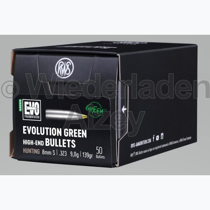 RWS Geschosse, .323, 139 grain bzw. 9,0 g, EVO Green