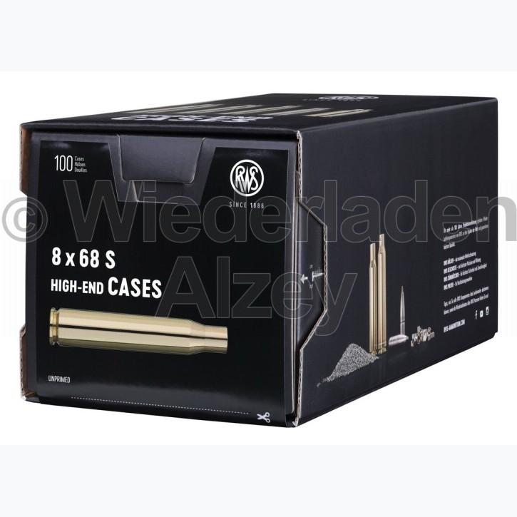 8 x 68 S RWS Hülsen, neutrale Verpackung