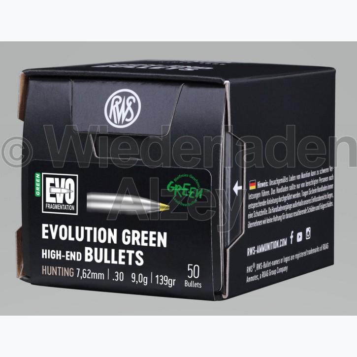 RWS Geschosse, .308, 139 grain bzw. 9,0 g, EVO Green