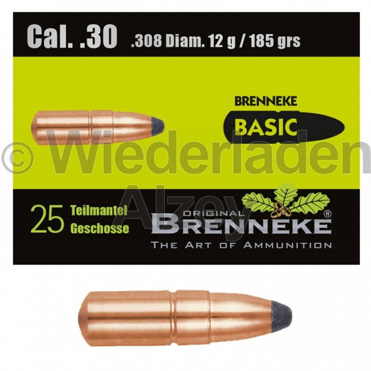 .30, 12,0 Gramm bzw. 185 grain, Brenneke Geschosse, BASIC, Teilmantel, Art.-Nr.: 49396000