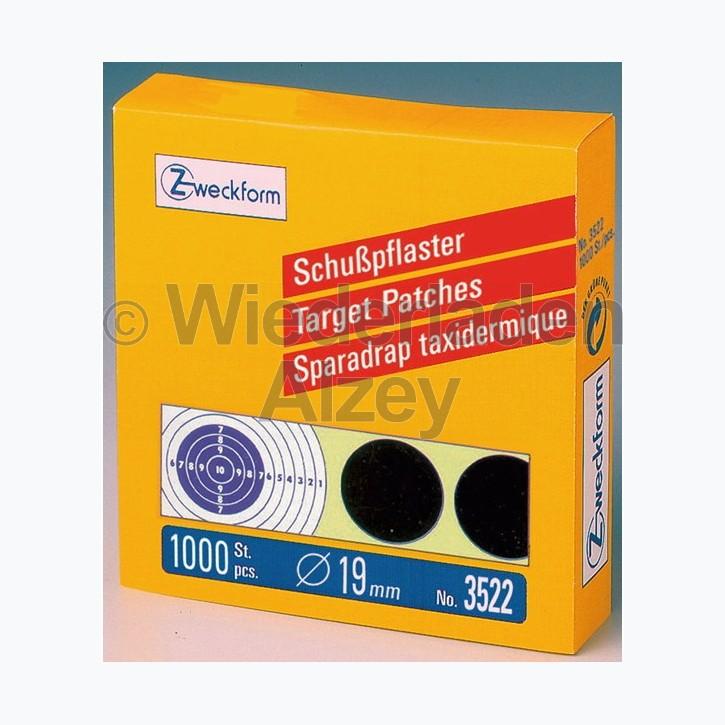 1 Rolle á 1000 Zweckform Schusspflaster, D. 19mm, schwarz, in Spenderbox, Art.-Nr.: 3522
