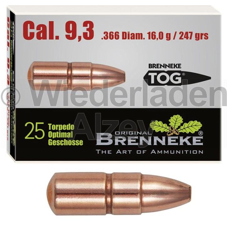 9,3 mm, 16,0 Gramm bzw. 247 grain, Brenneke Geschosse, TOG (Torpedo-Optimal Geschoss), Art.-Nr.: 49379000