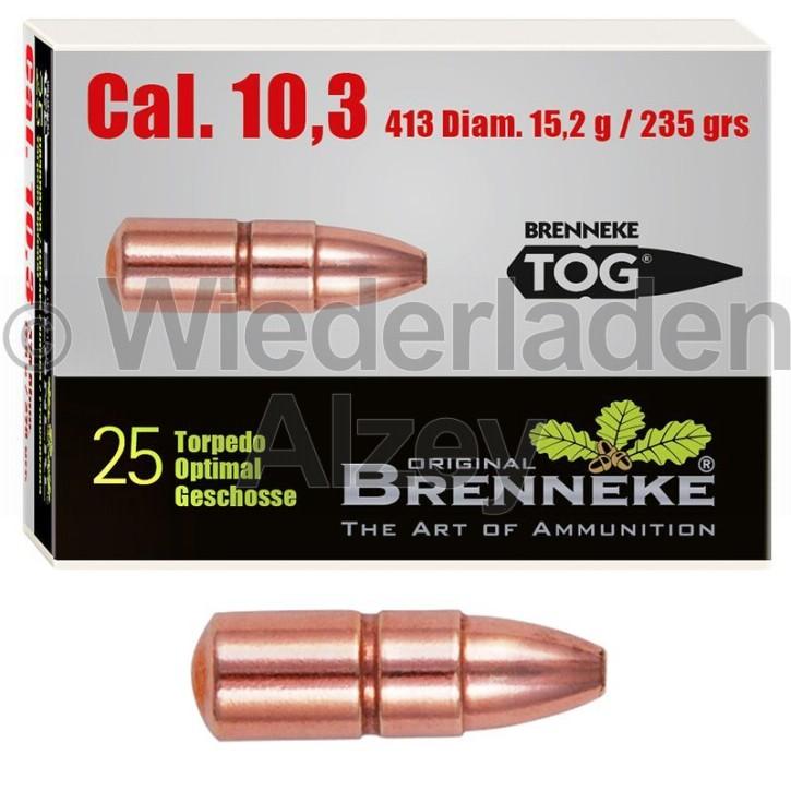 10,3 mm, 15,2 Gramm bzw. 235 grain, Brenneke Geschosse, TOG (Torpedo-Optimal Geschoss), Art.-Nr.: 493383000