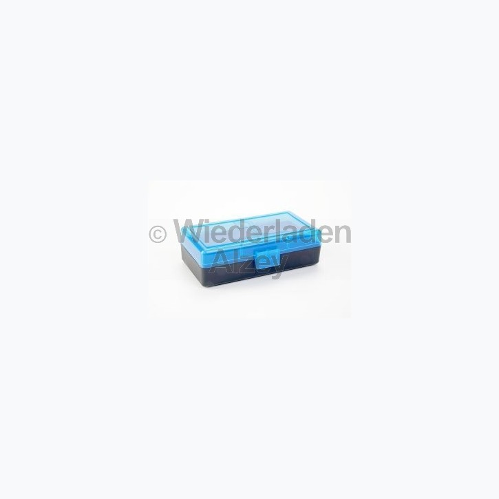 50er Dillon Patronenbox, Klappdeckel, klar-blau, 9 Para / .380 Auto, Art.-Nr.: 80019