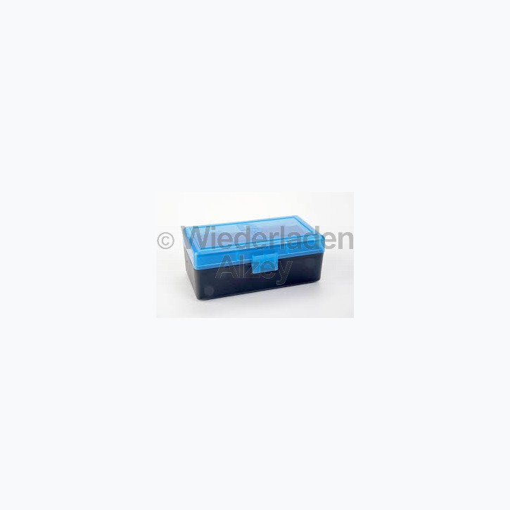 50er Dillon Patronenbox, Klappdeckel, klar-blau, .38 / .357 Mag., Art.-Nr.: 80020