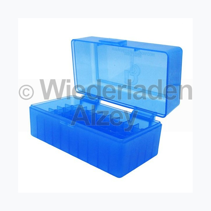 50er Dillon Patronenbox, Klappdeckel, klar-blau, .223 Rem., Art.-Nr.: 80022