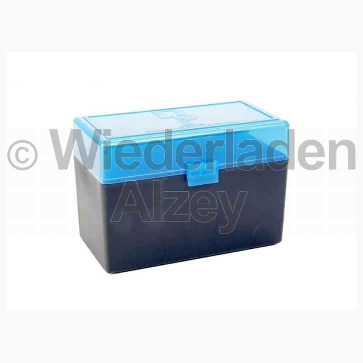 50er Dillon Patronenbox, Klappdeckel, klar-blau, .30-06, Art.-Nr.: 80026