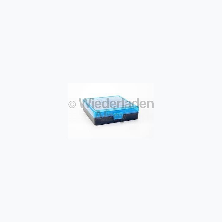 100er Dillon Patronenbox, Klappdeckel, klar-blau, 9 Para / .380 Auto, Art.-Nr.: 80033