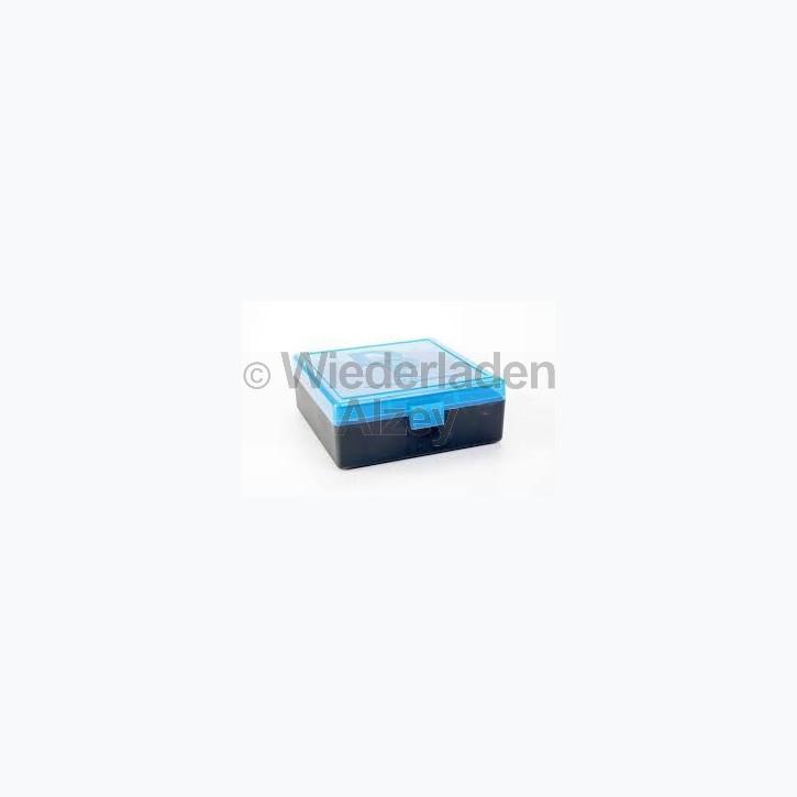 100er Dillon Patronenbox, Klappdeckel, klar-blau, .38 / .357 Mag., Art.-Nr.: 80034