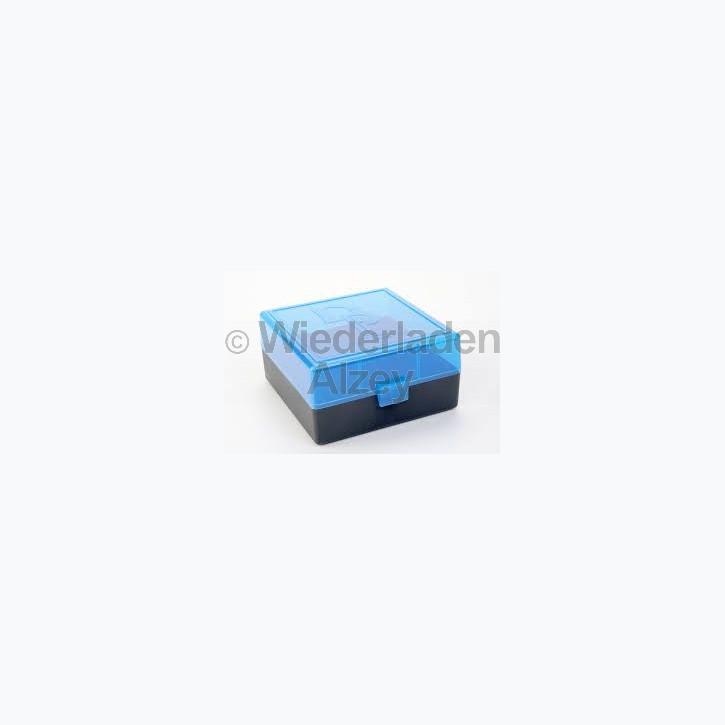 100er Dillon Patronenbox, Klappdeckel, klar-blau, .223 Rem., Art.-Nr.: 80035