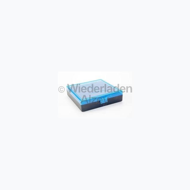 100er Dillon Patronenbox, Klappdeckel, klar-blau, .40 / .45 ACP, Art.-Nr.: 80037