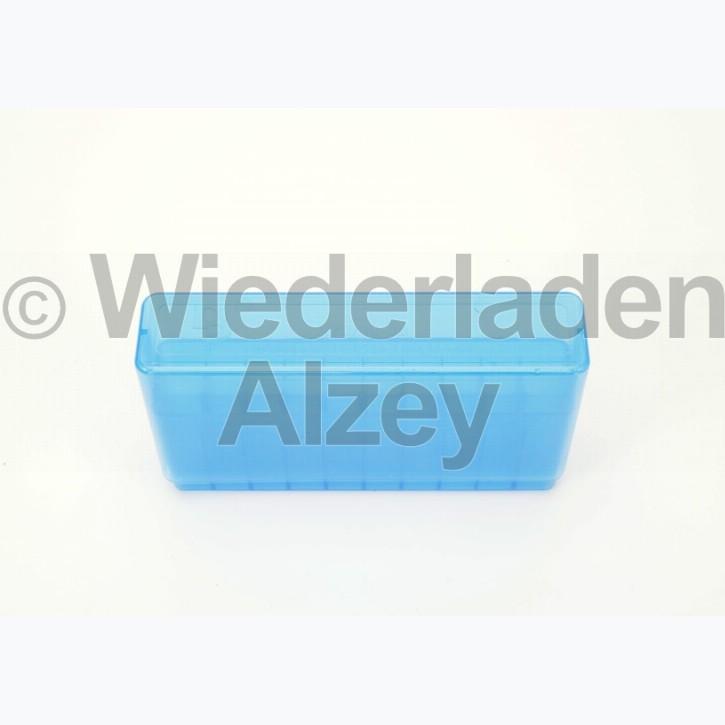 20er Dillon Patronenbox, Stülpdeckel, klar-blau, .30-06, Art.-Nr.: 80040