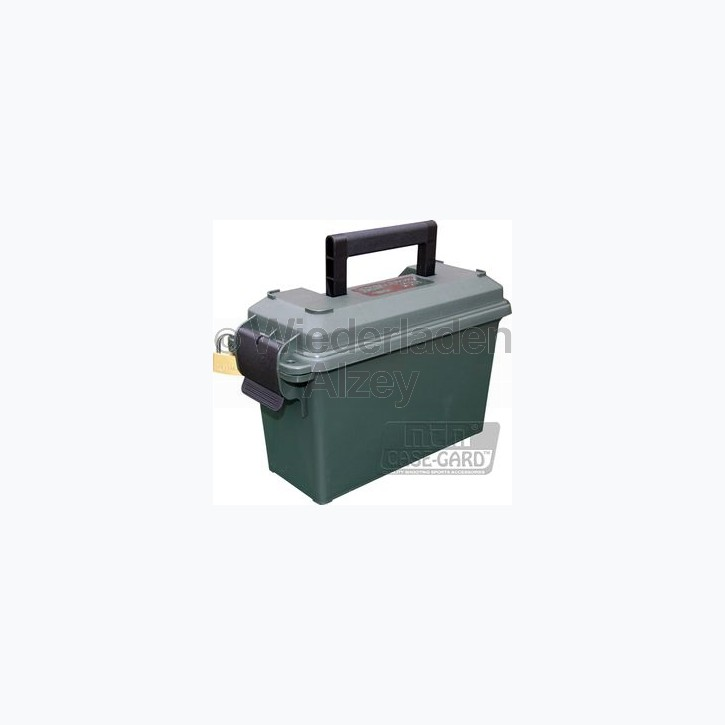 MTM Munitionskiste, Größe aussen ca. 13 x 29 x 13 cm, innen ca. 8,5 x 23 x 15,5 cm. Mit O-Ring im Deckel daduch wasserdicht, mit Vorhängeschloss verschließbar, Farbe grün, Art.-Nr.: AC30-T11