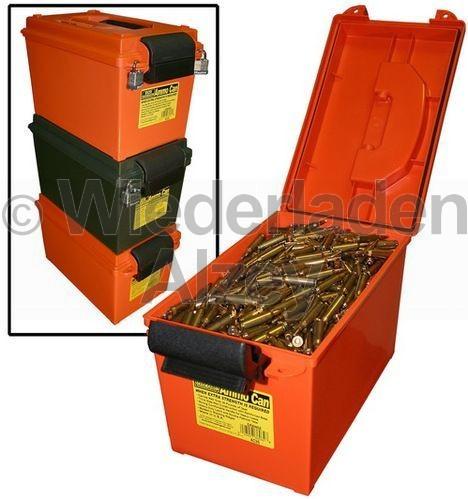 MTM, rutschfest und stapelbare Munitionsbox, ideal auch zur Lagerung von Munition in feuchten Räumen, Größe 22 x 39 x 23 cm, Orange, O-Ring gedichtet, Art.-Nr.: AC35