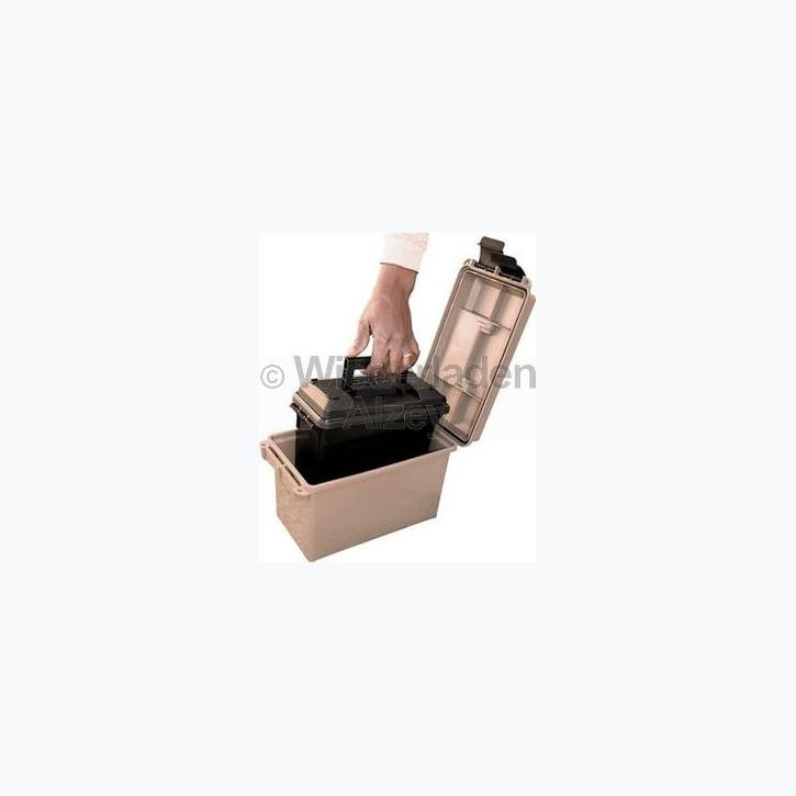 MTM Munitionskisten-Set, bestehend aus 2 Boxen, Box 1: Größe aussen ca. 19 x 34 x 21,5 cm, innen ca. 15 x 28 x 18 cm, Farbe beige. Box 2: Größe aussen ca. 13 x 29 x 13 cm, innen ca. 8,5 x 23 x 15,5 cm, Farbe schwarz.