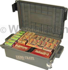 MTM Munitionskiste, Größe aussen ca. 44 x 27 x 14 cm, innen ca. 33 x 23 x 12 cm. Mit O-Ring im Deckel daduch wasserdicht, mit Vorhängeschloss verschließbar, Farbe grün, Art.-Nr.: ACR4P-18
