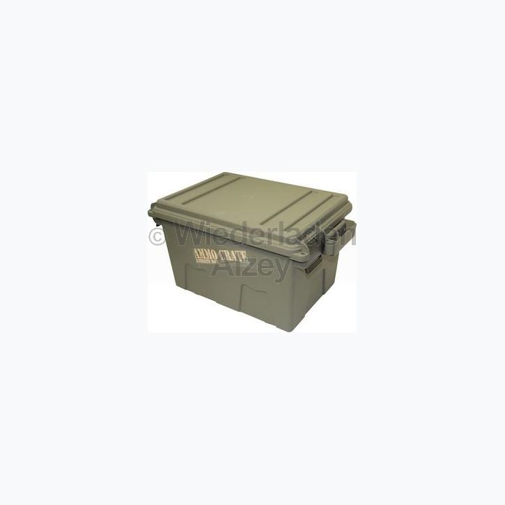 MTM Munitionskiste, Größe aussen ca. 44 x 27 x 23 cm, innen ca. 31 x 21 x 21 cm. Mit O-Ring im Deckel daduch wasserdicht, mit Vorhängeschloss verschließbar, Farbe grün, Art.-Nr.: ACR7-18