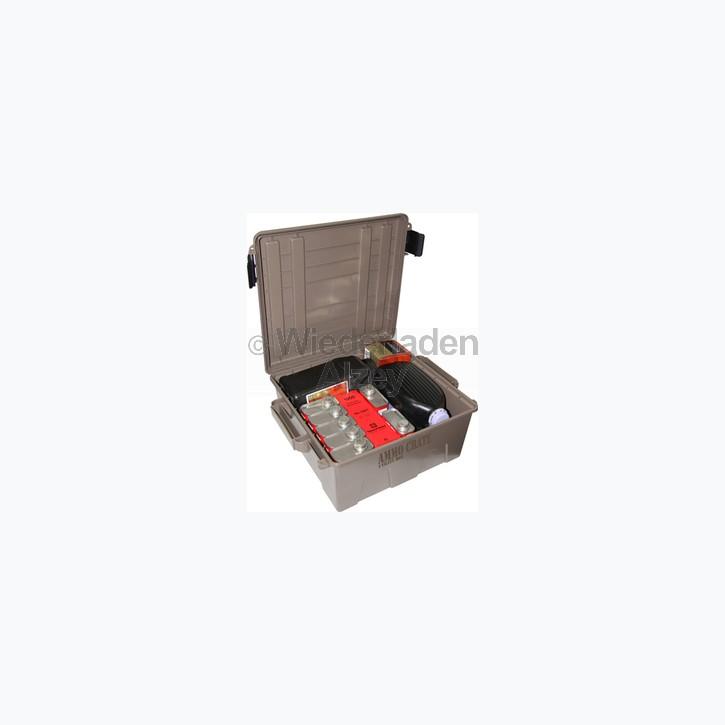 MTM Munitionskiste, Größe aussen ca. 48 x 40 x 20 cm, innen ca. 35 x 34 x 18 cm. Mit O-Ring im Deckel daduch wasserdicht, mit Vorhängeschloss verschließbar, Farbe beige, Art.-Nr.: ACR8P-72