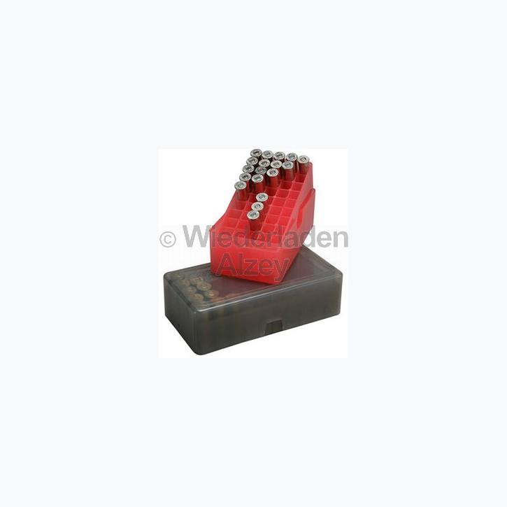 50er MTM Patronenbox, Stülpdeckel, für .38 / .357 Mag. / ....., Farbe rot-klar, E-50-38-29