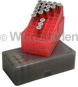 50er MTM Patronenbox, Stülpdeckel, für .45 Colt, .44 Mag. / ....., Farbe rot-klar, E-50-45-29