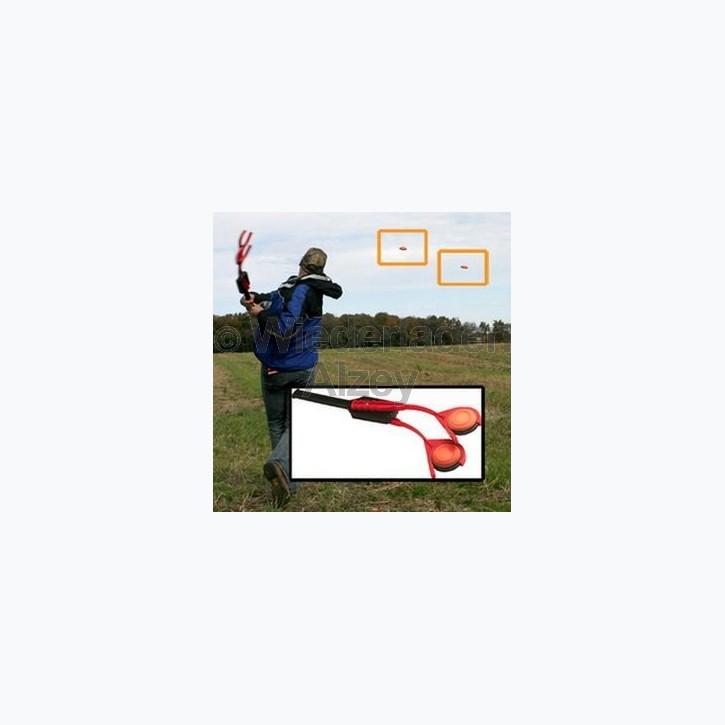 MTM Tontaubenschleuder für 2 Tauben gleichzeitig, Länge 785 mm, Farbe rot, Art.-Nr. EZ-DT-40