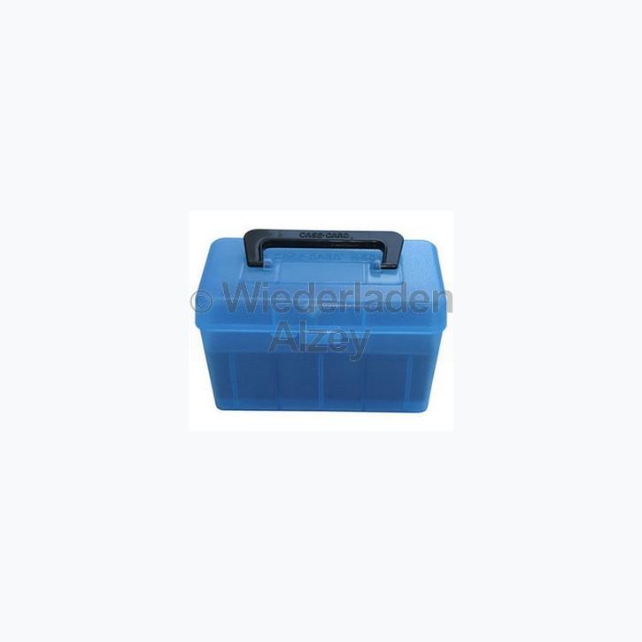 50er MTM Patronenbox mit Tragegriff, blau, Größe R-Mag., für 9,3x62 / 9,3x74, ...