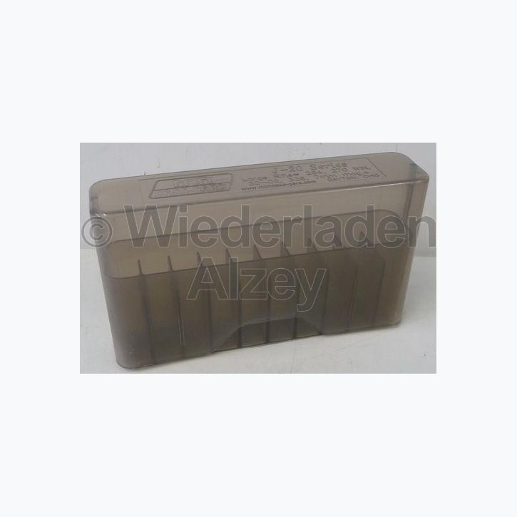 20er MTM Patronenbox, Stülpdeckel, rauch-klar, Größe RL, für .25-06 / .270 Win., ...