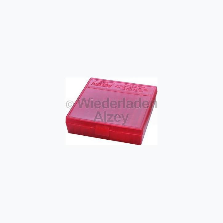 100er MTM Patronenbox, Klappdeckel, rot, .45 ACP, Art.-Nr.: P100-45-29