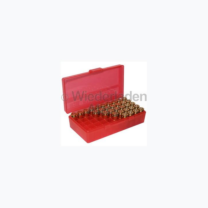50er MTM Patronenbox, Klappdeckel, rot, .44 / .44 Mag., Art.-Nr.: P50-44-29