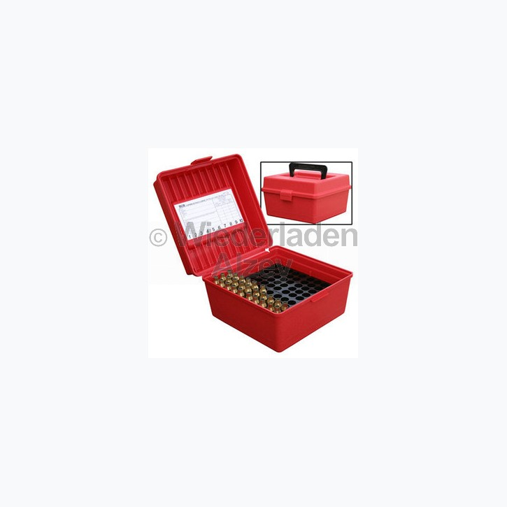 100er MTM Patronenbox mit Tragegriff, rot, Größe RL, für .25-06 / .270 Win., ..., Art.-Nr.: R10030