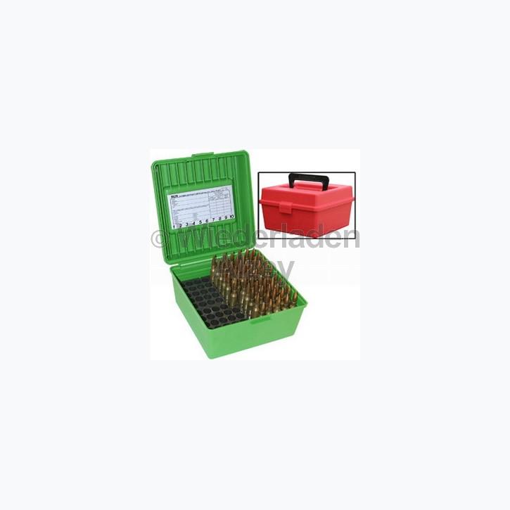 100er MTM Patronenbox mit Tragegriff, grün, Größe R-Mag., für .300 H&H Mag. / .300 WBY Mag., ..., Art.-Nr.: R-100-MAG-10