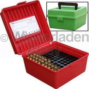 100er MTM Patronenbox mit Tragegriff, rot, Größe R-Mag., für .300 H&H Mag. / .300 WBY Mag., ..., Art.-Nr.: R-100-MAG-30