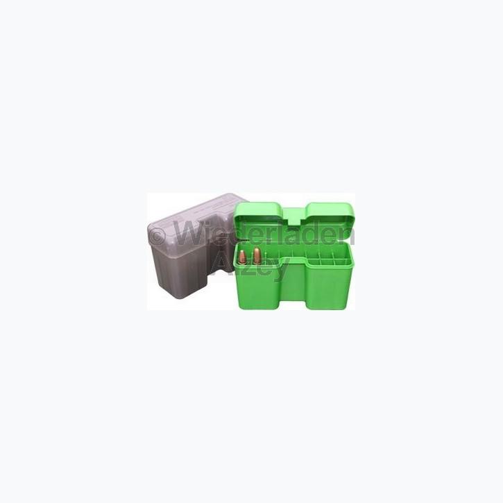 20er MTM Patronenbox mit Klappdeckel, grün, Größe LM, für .300 Rem Ultra Mag, .416Rigby, 600 Nitro, ..., Art.-Nr.: RF22-LM-10