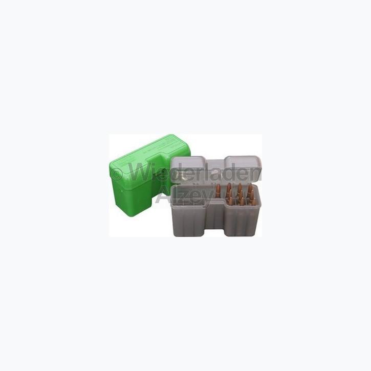 20er MTM Patronenbox mit Klappdeckel, rauch-klar, Größe LM, für .300 Rem Ultra Mag, .416Rigby, 600 Nitro, ..., Art.-Nr.: RF22-LM-41
