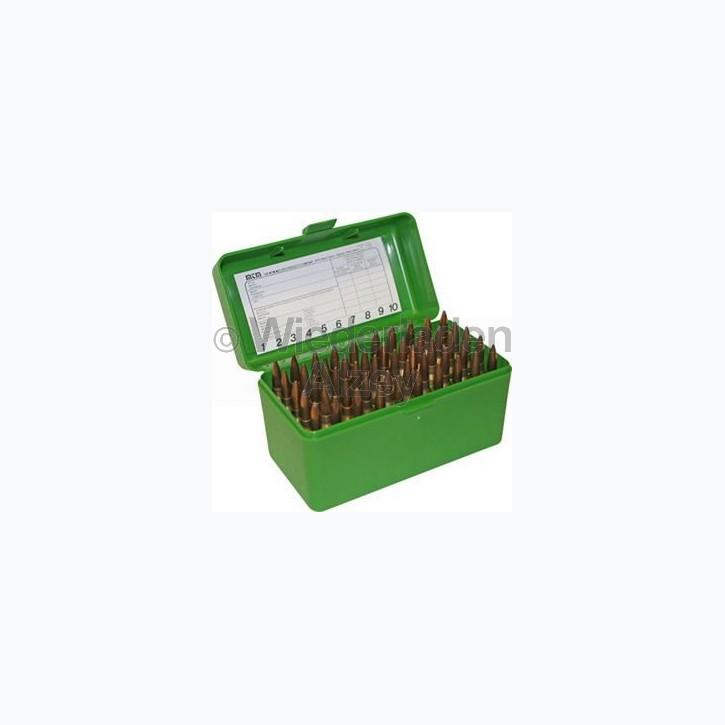 50er MTM Patronenbox, grün, Größe RLLD, für .300 H&H Mag. / .300 Win. Mag. / .303 Brit., ..., Art.-Nr.: RLLD-50-10