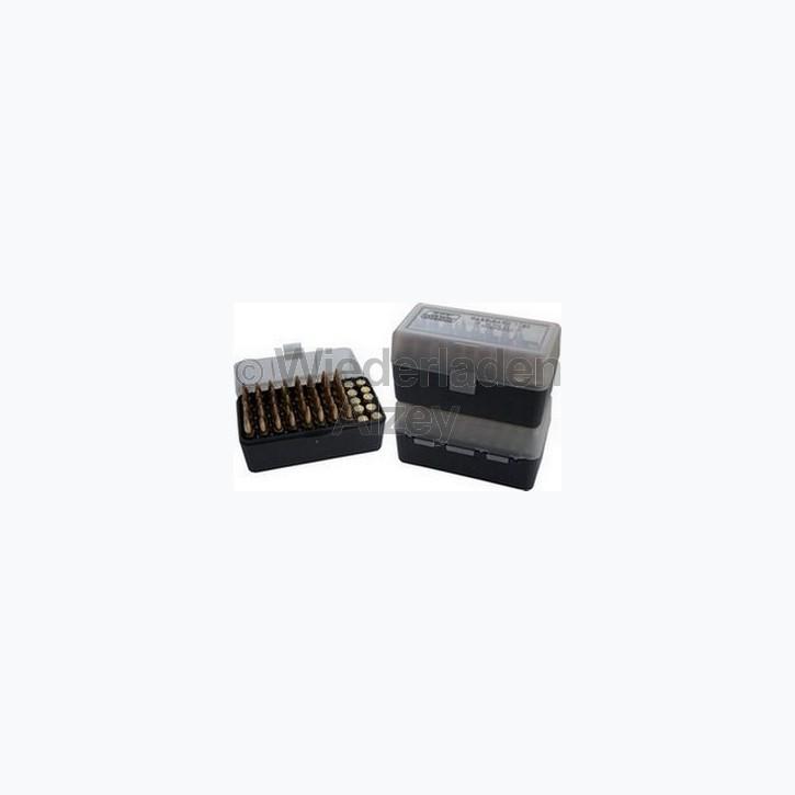 50er MTM Patronenbox, schwarz / rauch-klar, Größe RM, für .220 Swift, .243 Win., .., Art.-Nr.: RM-50-41T