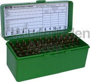 60er MTM Patronenbox mit Klappdeckel, grün, Größe RM, für .220 Swift, .243 Win., ..., Art.-Nr.: RM-60-10
