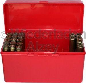 60er MTM Patronenbox mit Klappdeckel, rot, Größe RM, für .220 Swift, .243 Win., ..., Art.-Nr.: RM-60-30