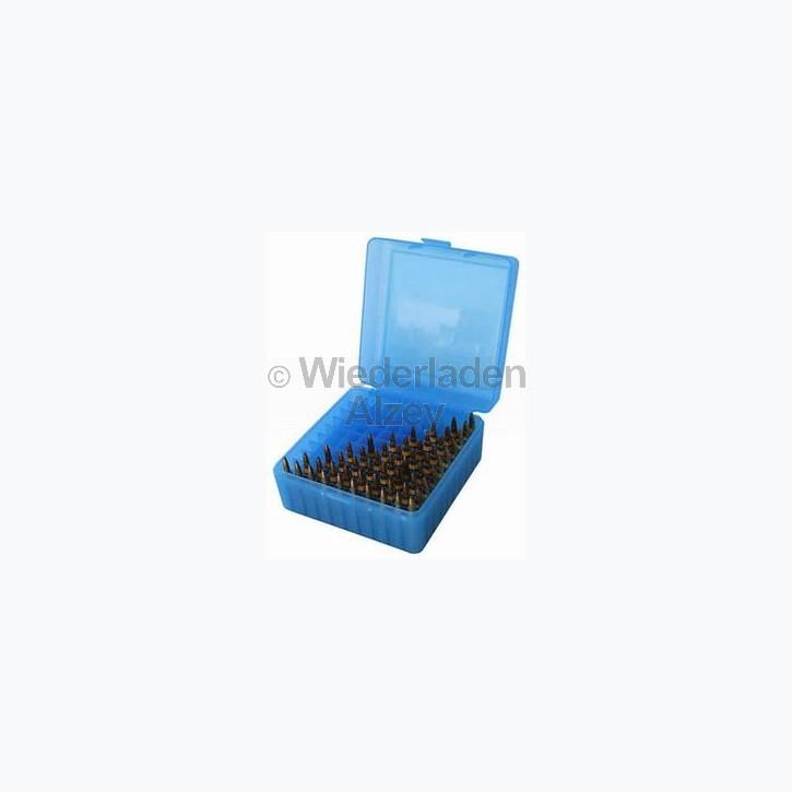 100er MTM Patronenbox, blau, Größe RS für .17 / .222 / .223 ..., Art.-Nr. RS-100-24