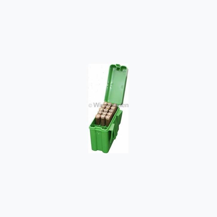 20er MTM Patronenbox mit Klappdeckel und Gürtelhalter, grün, Größe RS, für .17 ..., Art.-Nr.: RS-20-10