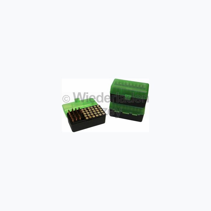 50er MTM Patronenbox, grün / schwarz, Größe RS für .17 ..., Art.-Nr.: RS-50-16T