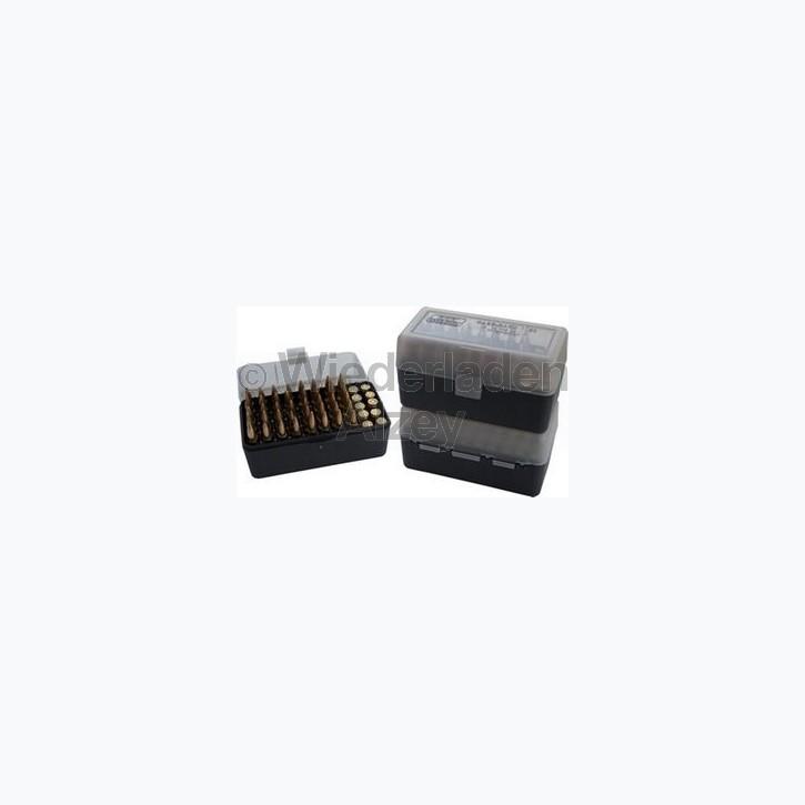 50er MTM Patronenbox, rauch-klar, Größe RS für .17 ..., Art.-Nr.: RS-50-41