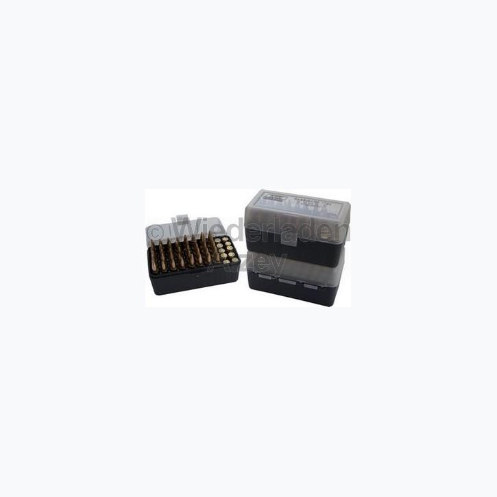 50er MTM Patronenbox, schwarz / rauch-klar, Größe RS für .17 ..., Art.-Nr.: RS-50-41T