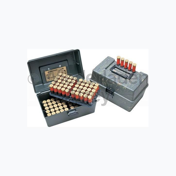 MTM, Schrotpatronenbox für 100 Patronen im .20, mit herausnehmbaren Munitionshalter und 5-fach Patronenhalter im Deckel, Camo, Art.-Nr.: SF-100-20-09